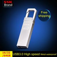 SSK Lock USB 3.0  flash drive 100% 16G 32G 64G usb 3.0 metal high speed usb flash drives waterproof pen drive Free shipping