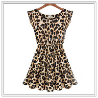 NEW Spring and  summer 2014 NEW FASHION Leopard  DRESS WOMEN SHORT SLEEVE SLIM DRESS WOMEN BRAND HIGH QUALITY plus size S M L