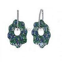 Derongems_Fine Jewelry_Luxury Emerald Stones Flower Party Hoop Earrings_S925 Solid Silver Luxury Earrings_Factory Directly Sale