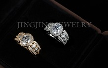 Unique 18k Gold Plated Oval Shape cut 2carat Swiss Cubic Zirconia with 6pcs Sidestones Halo Marriage
