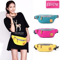 Eshow Canvas small sport bag Outdoor Women waist bag fashion pink yellow blue belt bag waist packs BFY000041