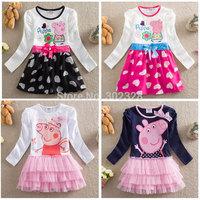 New 2014 Peppa Pig Baby Girls Dress Autumn Princess Party Dress Tutu Girls Long Sleeve Peppa Pig Clothing Kids Dress