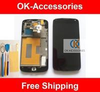Original Quality Touch Screen +LCD + Frame +Protector + Tools For LG Google Nexus 4 E960 No Sensor Problem 1PC/Lot Free Shipping