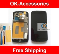 Original Quality Touch Screen +LCD + Frame +Protector + Tools For LG Google Nexus 4 E960 No Sensor Problem 1PC/Lot Free Shipping
