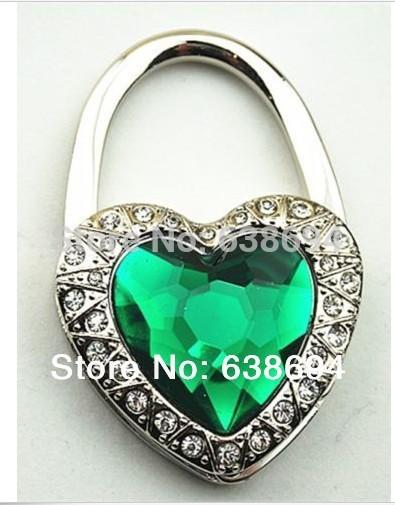 Free Shipping Metal Foldable Bag Purse Hook Bag Hanger/Purse Hook/Handbag Holder Shell Bag Folding Table bling heart Crystal(China (Mainland))