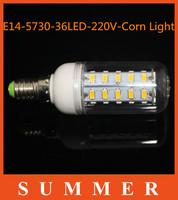 5pcsE14 5730 LED light Led lamp AC220V-240V Corn Bulbs E14 5730 36LEDs Lamps 5730 SMD 12W Energy Efficient E14 led lighting