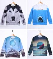 High quality 3D Print Animal Sweater Wolf Shark Print Hoodies 3D Sweatshirts Men Sweater