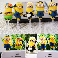cartoon anime minions despicable me 2 headset anti dust plug charm earphone jack for iphone 4 4s samsung cell phones accessories