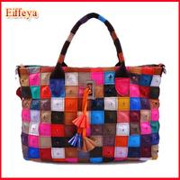 Fashion Bags 2015 Women's Genuine Leather Patchwork Handbag Tassel Rivet Bag Shoulder Bags For Women
