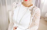 2014 spring women's Women top white solid lace slim long-sleeve basic shirt t-shirt