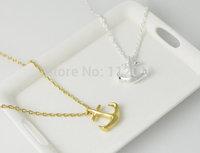 Wholesale 10pcs/lot-2015 Gold/Silver Punk Vintage Unique Tiny Anchor Metalwrok Pendant Necklace Women Men Jewelry