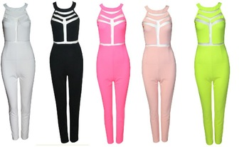 Free shoping S Модный sexy net yarn stitching tight Jumpsuits(5 Цвет) TB 6040