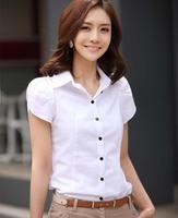 Free shipping 100% High Quality  Women Girl OL Career Bubble Puff Short Sleeve Lapel  Button Down Slim Blouse Shirt S-XL