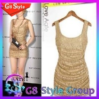 2014 world famous brand European star style nightclub   thin tight folds lace vest dress 3159 for women
