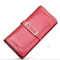 2014  women leather purse oil waxing PU leather long design female wallet women purse