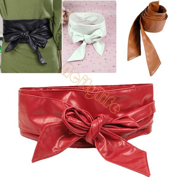 2014 New Arrive Autumn Summer Fashion Long Circle Soft Leather Bow Body Shaping Bands Wide Belt Cummerbund 5457(China (Mainland))