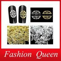 2014 New 3D Metal Nail Decorations,100pcs/set Gold Silver DIY Nail Art Craft,Beauty Salon UV Gel Nail Polish Accessories Tools
