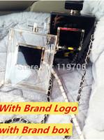2014 New Famous Brand Designer Luxury Crystal Acrylic Perfume Bottles Chain Clutch Handbags No.5 Transparent PVC Evening Bags