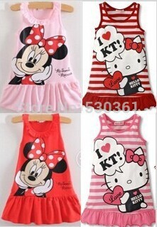 New 2014 Kids girls clothes cute Mickey Mouse Minnie Dress, 2 colors of red and pink mini Clothes, KT cat baby girls dress(China (Mainland))