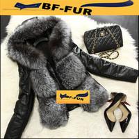 2014 New Fur Women Coat Real Sheepskin Leather Big Hood Long Natural Fox Fur Jackets Adjustable Hood & Sleeve Outwear Coats
