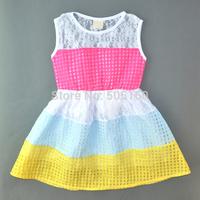 girls princess dress 2015 new fashion summer cute Rainbow Lattice Splice lace toddler girl clothing roupa infantil feminina