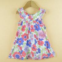 Spring New Girls Dress New Designer 100% cotton 2014 summer flower child clothing baby dress princess dress summer dress