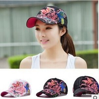 HOT Lady baseball caps hats for women sequins with butterflies embroidered, 2014 new women sun Visors snapback hat, Hats & Caps