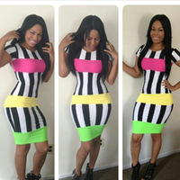 2014 New Casual Summer Dress Colorful Striped Bodycon Bandage Dress Sexy Mini Club Dress TY049