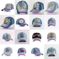 Hot sale beauty cute hat Luxury rhinestone floral denim jean women baseball cap new fashion crystal flower female snapback caps