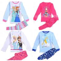 Frozen elsa anna  sofia Dream princess 2-7T  kids pajama  girls children's baby clothing sleepwear fashion 2014 spring