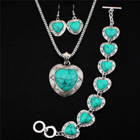 4 pcs Retro Silver Plated Necklace Bracelet Earring Heart Pendant  Turquoise Jewelry Sets TS25
