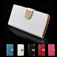 For Samsung Galaxy S3 i9300 Bling Crocodile Luxury Flip Leather Case Swarovski Diamond Plating Cover PU Style Wallet Card Design