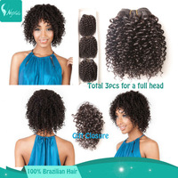 Brazilian curly weave deep curly virgin hair cheap human hair bundles 8'' 3pcs lot with 1pc gift closure 6a human hair extension