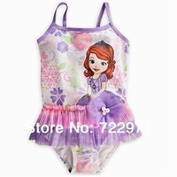 Free shipping 2014 new style the Mermaid and  princess one-piece swimsuit children cartoon swimwear girl's bathing suit