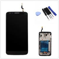 Free shipping For  LG Optimus G2 D802  LCD touch screen Digitizer  Assembly with frame + free tools Black Color