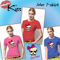 Kiss Me Skull Hot Cheap Women Round Neck Short Sleeve T Shirt With Logo