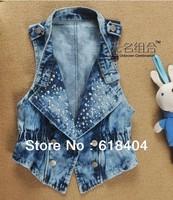 wholesale aolover women vest jeans windproof denim sleeveless jacket Sky blue, Blue, Dk blue 3colors Hot sale WC166
