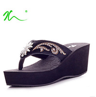 Free Delivery Summer Shoes Platform Sandals for Women Comfortable Flip Flops with Rhinestone Fashion Wedges Sandals Slippers