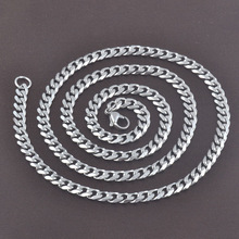 High quality factory direct sale women fashion 5mm*60cm 316L stainless steel flat silver chain necklace jewelry 13009R