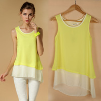 Eu New 2014 summer Chiffon Dress,Candy color splicing False-two-pieces Camisole Dress Tank Vest Mini Dress Brazil Ru Dropship