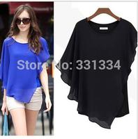 Womens Tops Fashion 2014 New Irregular Sexy Bevel Chiffon t shirt Short-sleeve Women Novelty Batwing Short Sleeve Crop Top Tee