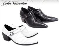 NEW 2014 White wedding male leather Boots elevator pointed toe high heels casual male shoes  breathable  low-top shoes