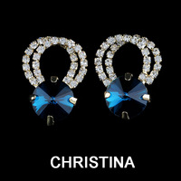 new item in 2014 silver plated round crystal Party blue earrings for women