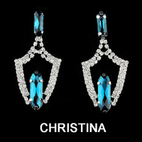2014 new design luxury crystal dangle earrings for women silver plated nickel free
