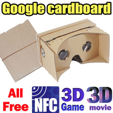NEW DIY Google Cardboard Virtual reality VR mobile phone 3D glasses by Unofficial Cardboard 3D movies games for freewith NFC tag(China (Mainland))