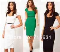 6 Colour 2014 New Fashion summer High Quality Elegant Patchwork Short-Sleeve OL Pencil Dress Elastic Slim One-Piece Dress #1439