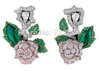Earrings for women 925 pure silver rose silver earrings luxury classic drop earring emerald silver pink fashion