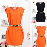 Neck Sleeveless Button-Shoulder Tunic Dress With Belt 2014 spring summer Free ShippingF3309
