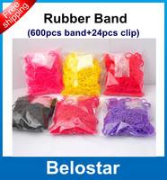 DIY Refill Loom Bands Rubber Loom Band Bracelet (600 pcs bands + 24 pcs S-clips ) in each bag For Kids DIY Gift