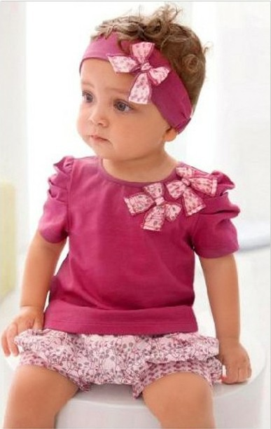 Baby summer clothing set children t-shirt+pant+headwear 3 pieces set bowknot clothing set(China (Mainland))